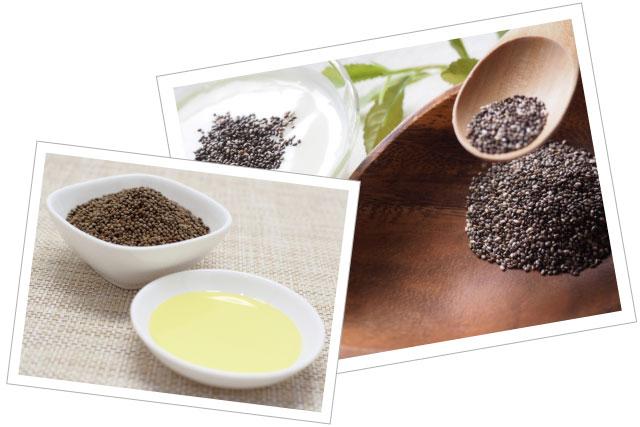 オメガ3脂肪酸のα-リノレン酸をたくさん含むえごま油やチアシード