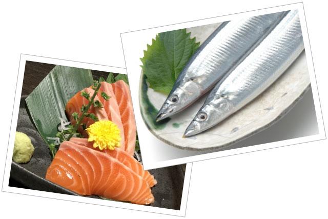 EPAやDHAなどのオメガ3脂肪酸をたくさん含むサンマや鮭